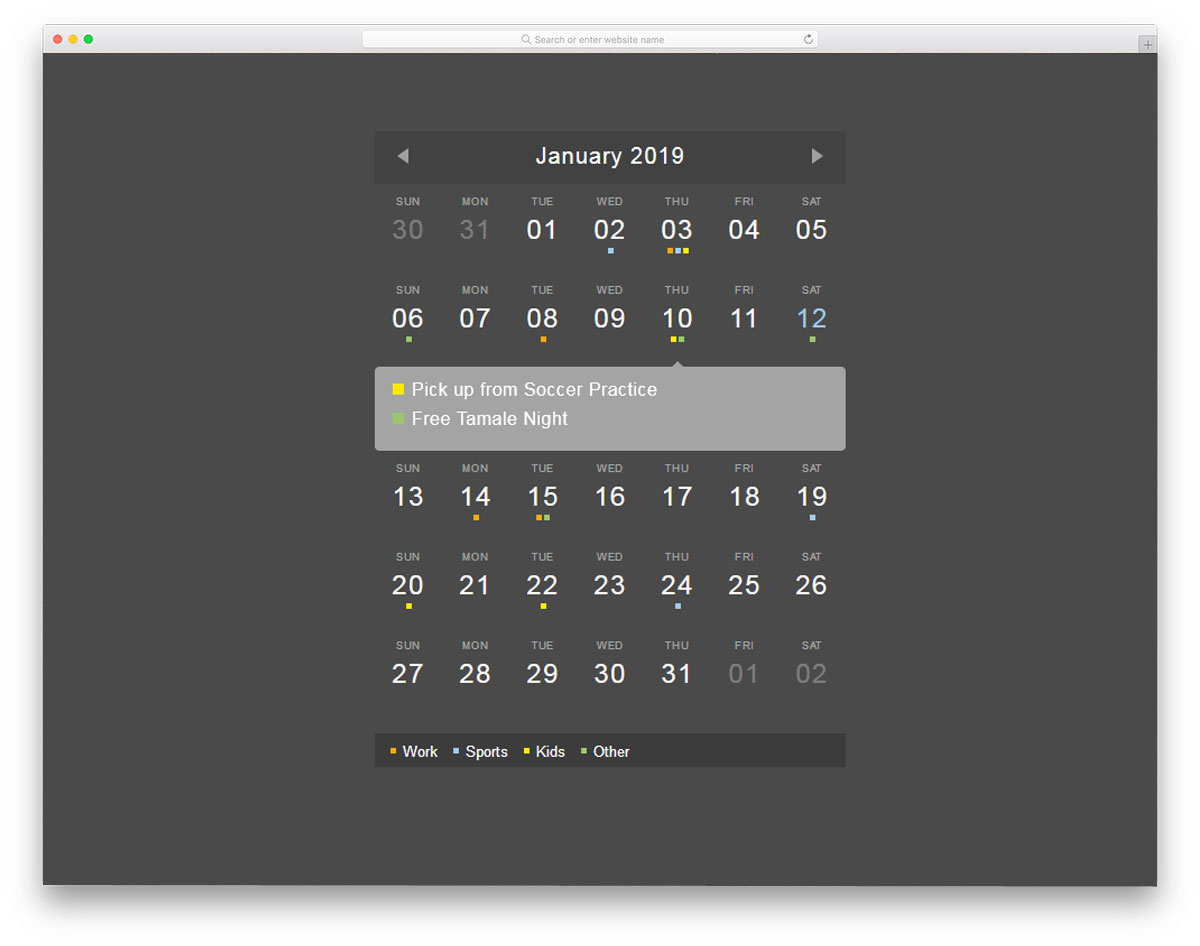 30 Html Calendar Designs To Easily Organize Goals And Events intended for Calendar Date Icon Generator