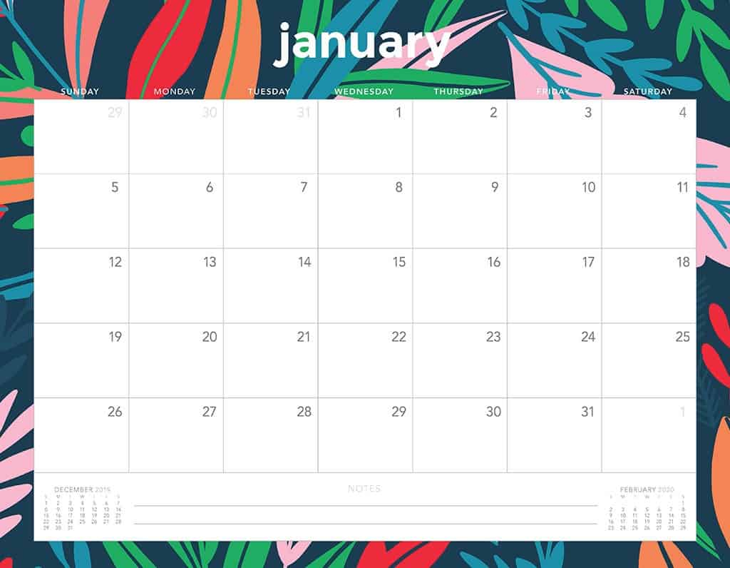 30 Minimalist January 2020 Calendars To Print throughout Printable January 2020 Calendar