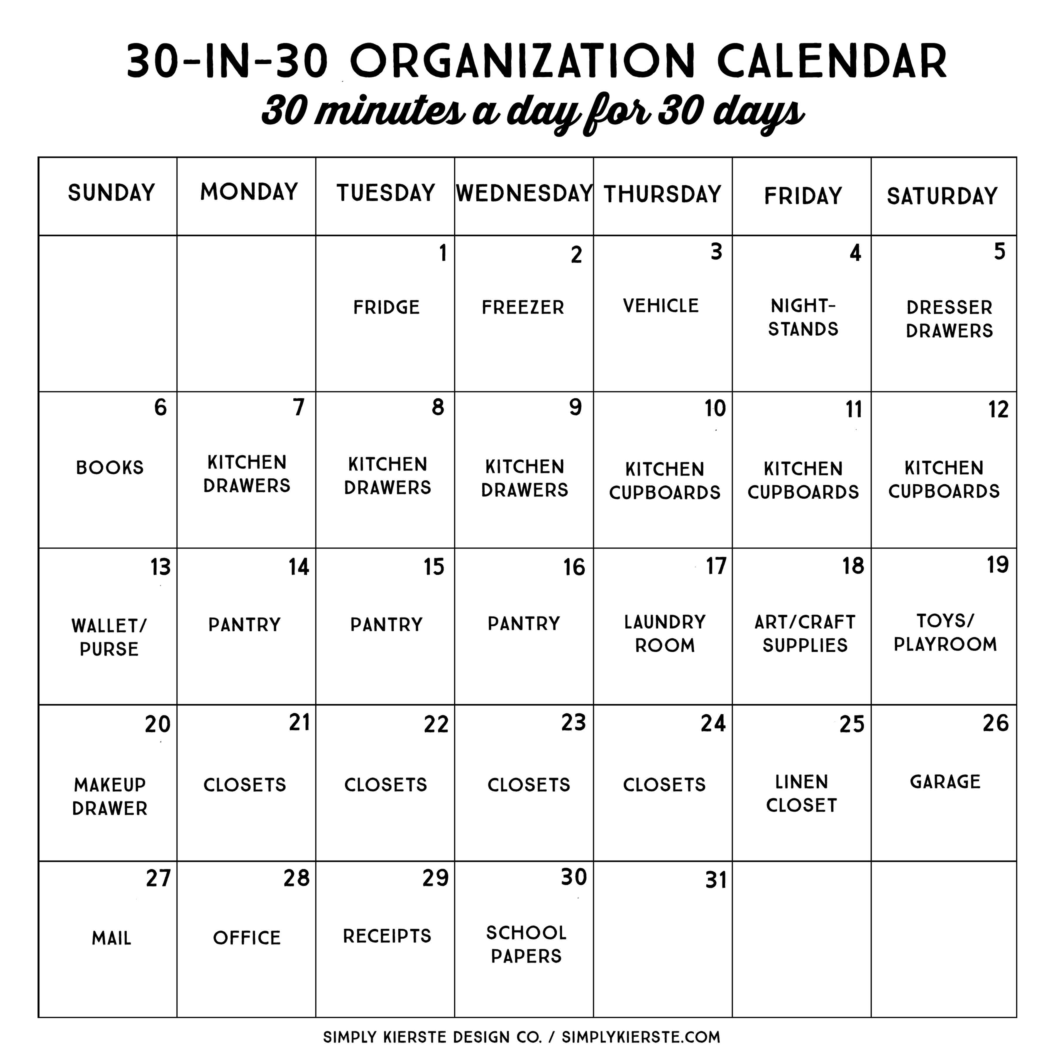 30 Minute, 30 Day Organization Calendar | Simply Kierste throughout 30 Day Calendar