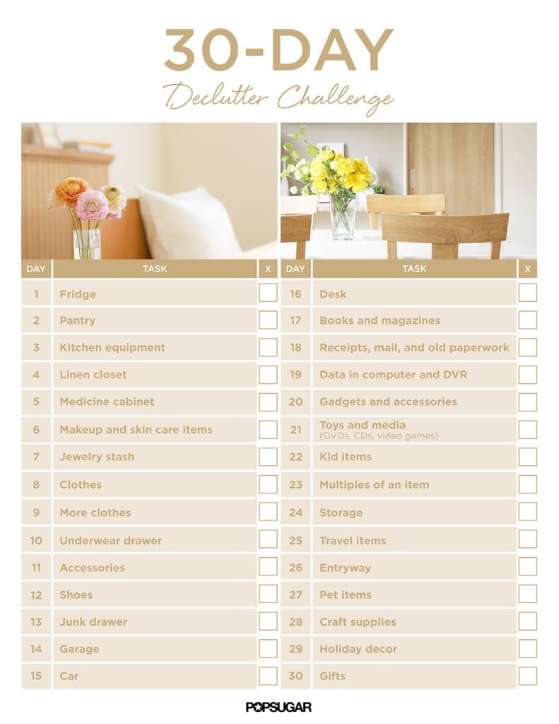 30Day Declutter Challenge | Popsugar Smart Living for 30 Day Declutter Calendar