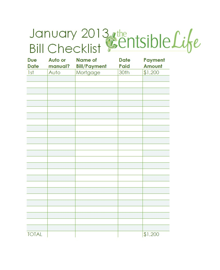 32 Free Bill Pay Checklists & Bill Calendars (Pdf, Word & Excel) for Free Printable Monthly Bill Checklist