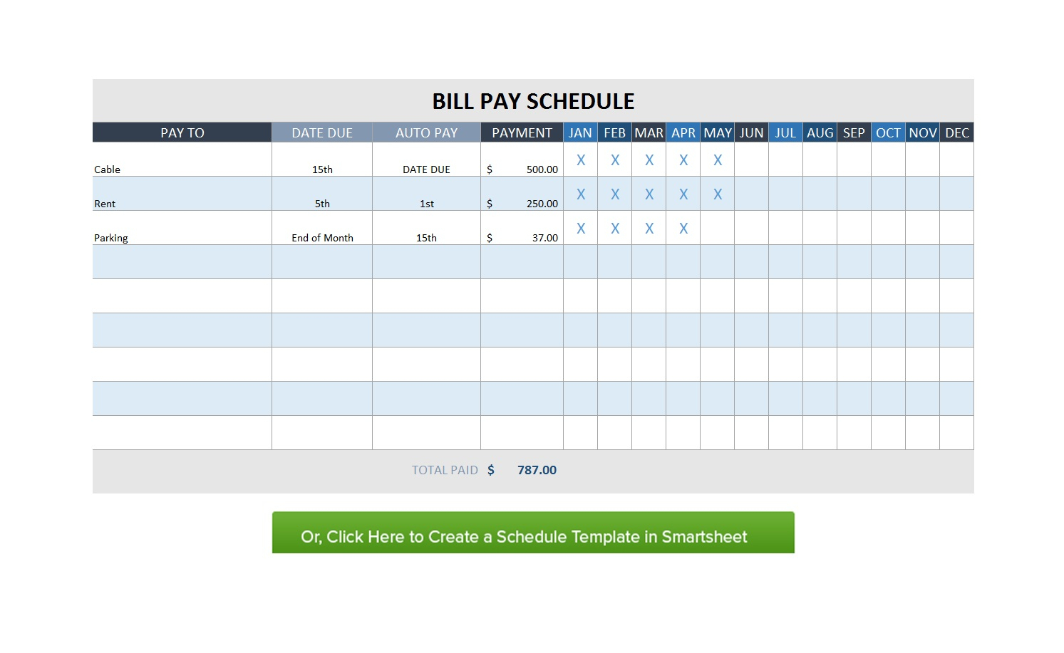 32 Free Bill Pay Checklists & Bill Calendars (Pdf, Word & Excel) inside Free Printable Monthly Bill Payment Log