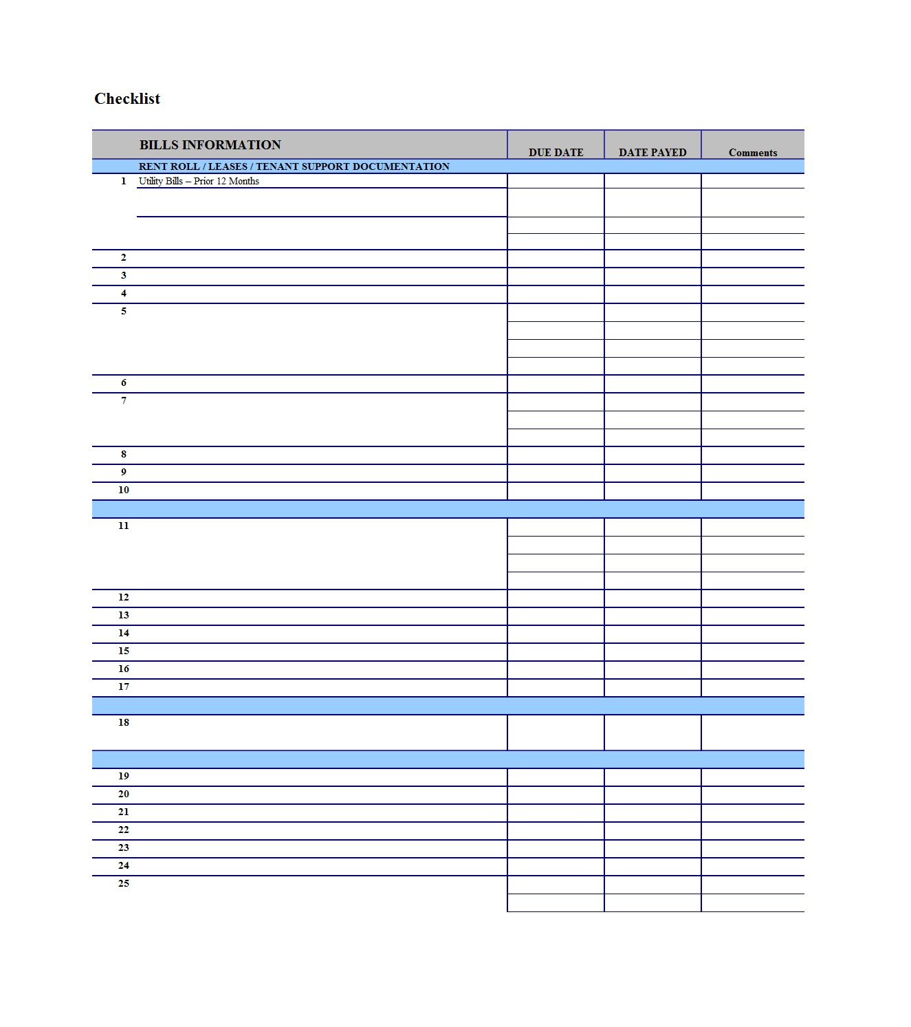 32 Free Bill Pay Checklists & Bill Calendars (Pdf, Word & Excel) inside Monthly Bill Organizer Template Excel