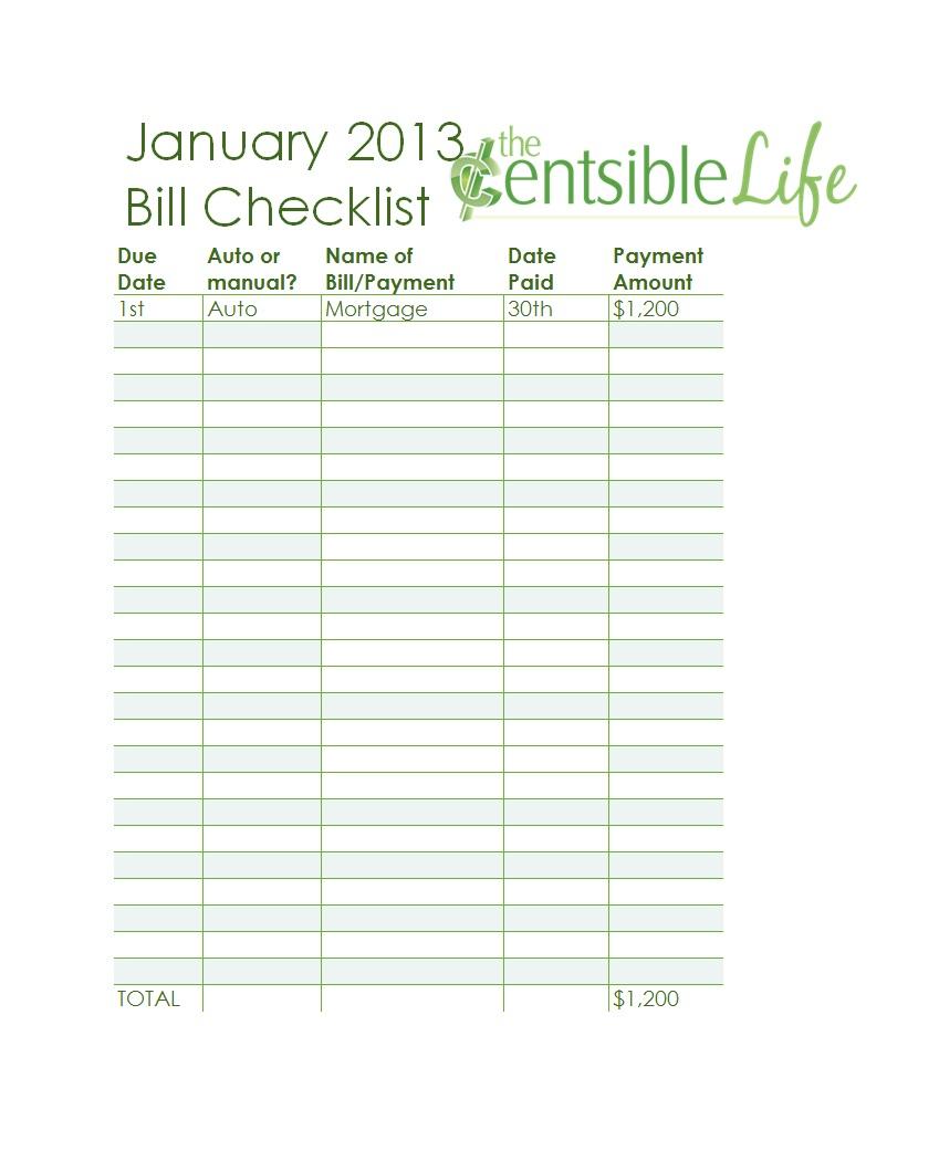 32 Free Bill Pay Checklists & Bill Calendars (Pdf, Word & Excel) regarding Bill Pay Worksheet Printable