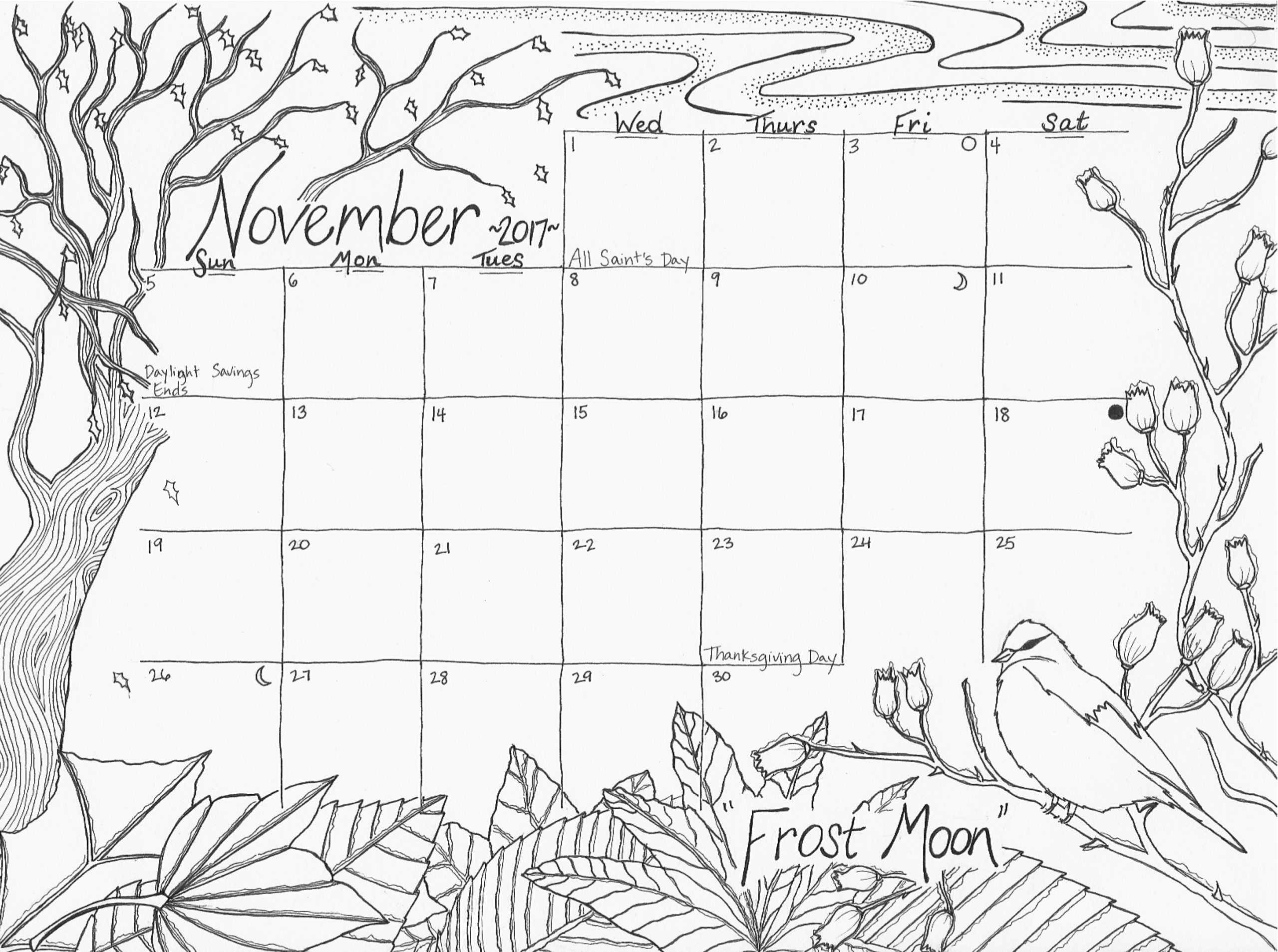 35 Most Exemplary Outstanding November Coloring Pages in Moon Calendar Puerto Rico