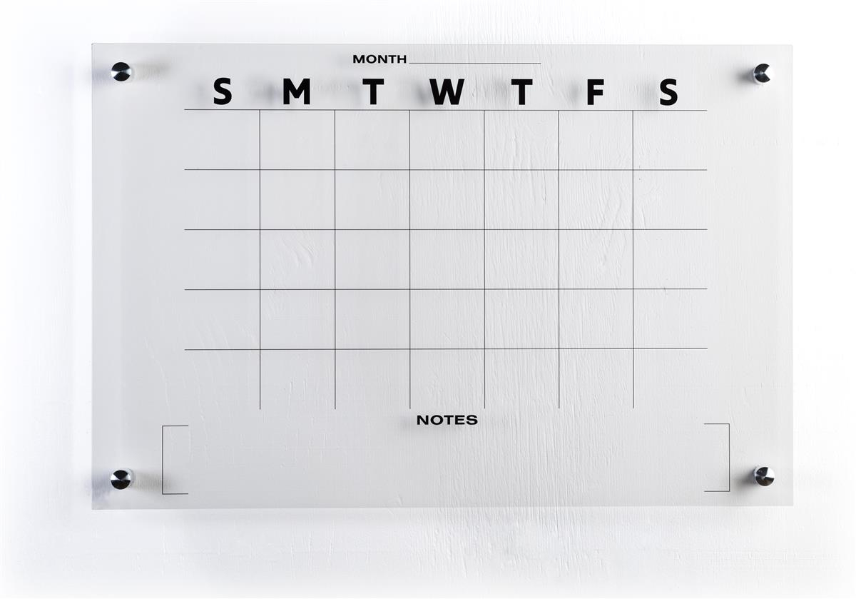 36X24 Wallmounted Dry Erase Monthly Calendar, Frameless Acrylic,  Preprinted  Clear with 30 Day Calander