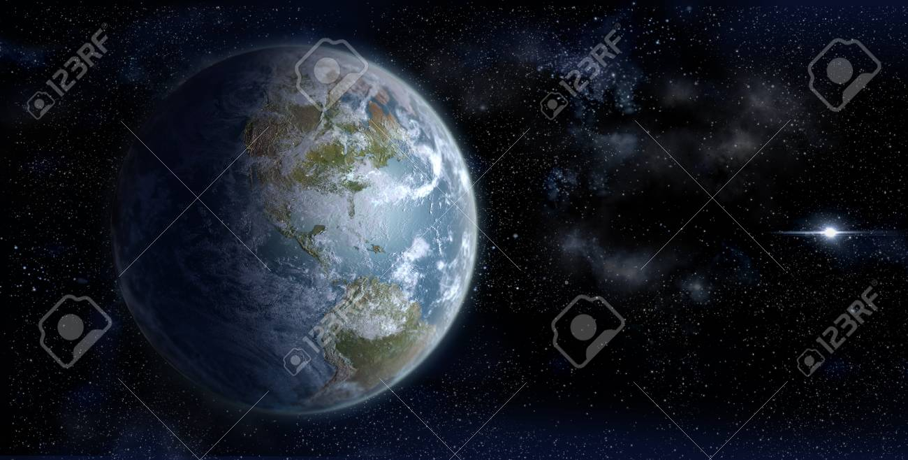 3D Rendering Of Earth From Space On A Star Field Backdrop With.. pertaining to Space Related Pictures