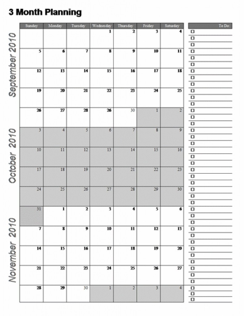 3Month Planning Calendar Free Template | Calendar Template intended for Printable Calendar 3 Month