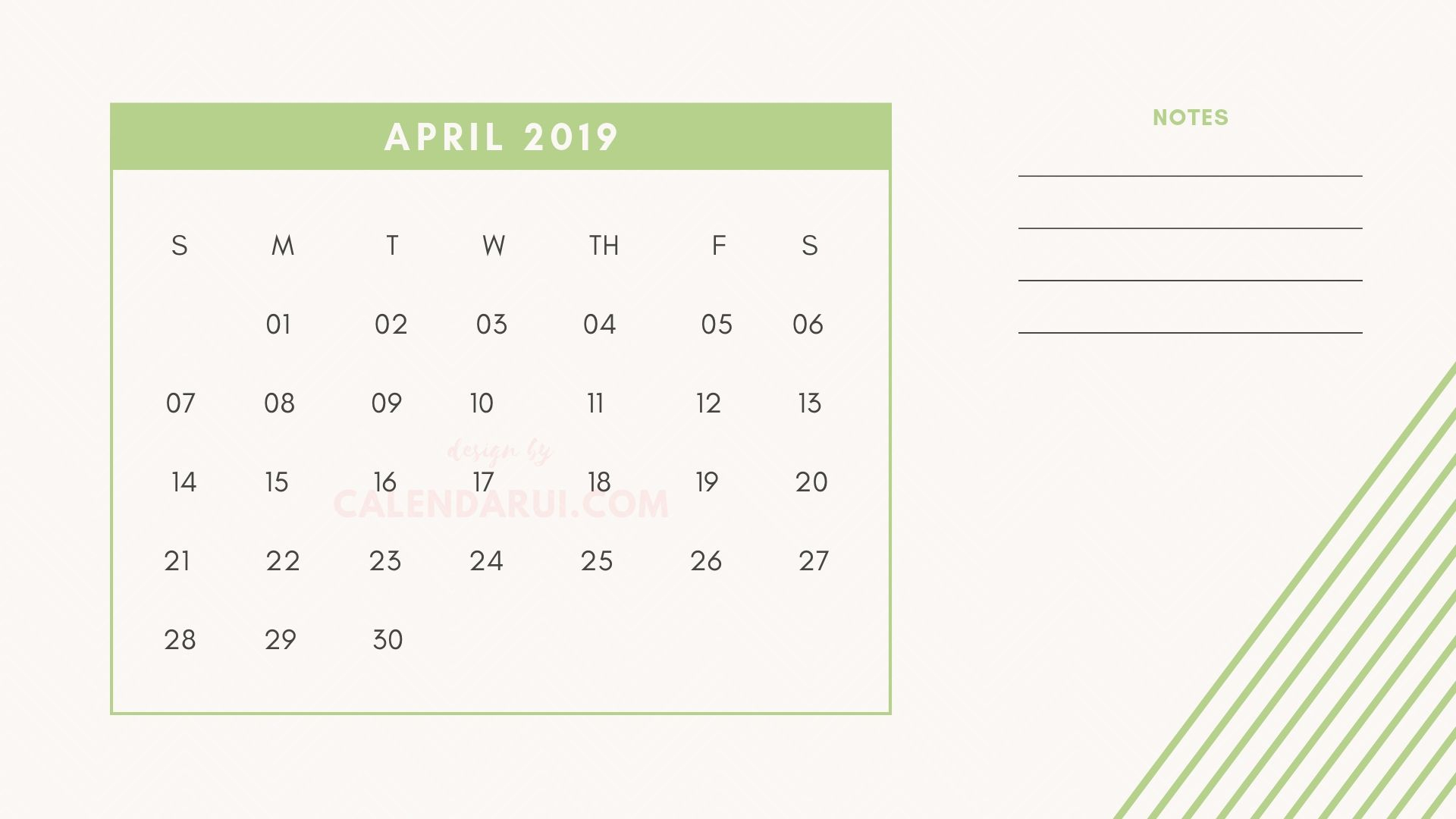4 April Printable Mini Calendar 2019 Template With Notes with regard to Mini Calendar Template