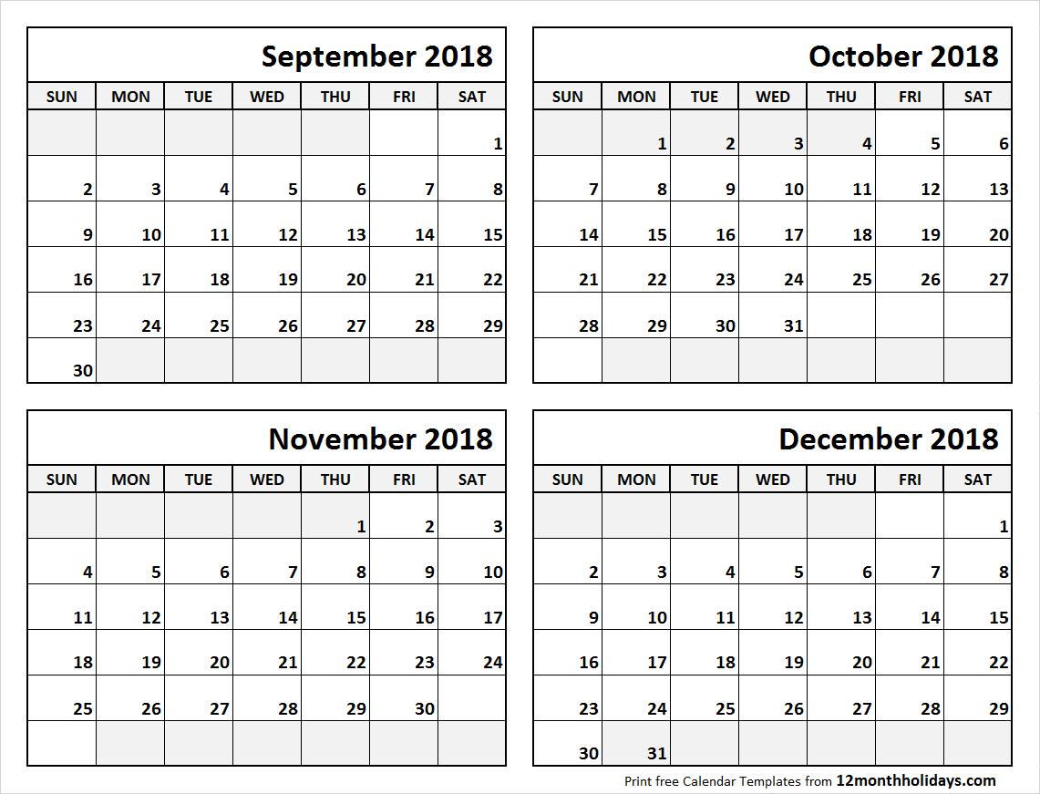 4 Month Calendar September To December 2018 | Blank Calendar throughout 4 Month Calendar Template