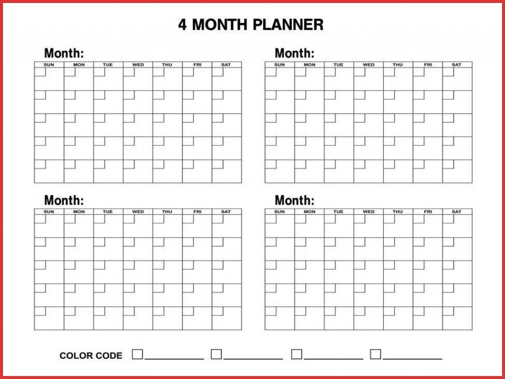 4 Monthly Calendar Template | Monthly Printable Calender in 4 Month Calendar Template