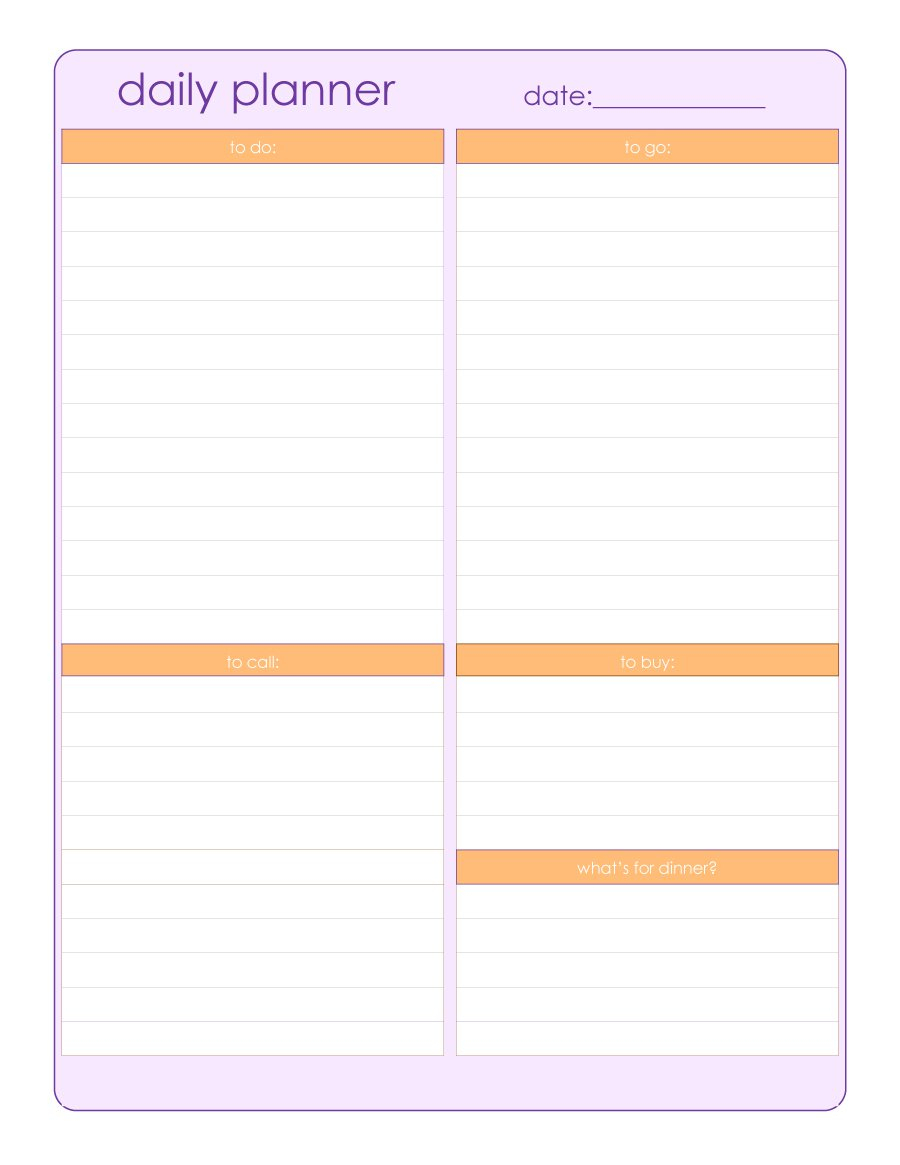 47 Printable Daily Planner Templates (Free In Wordexcelpdf) pertaining to Free Printable Daily Planner Template