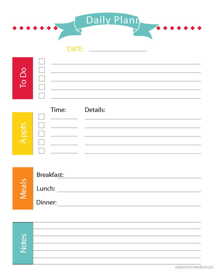 47 Printable Daily Planner Templates (Free In Wordexcelpdf) with Free Printable Daily Planner Template