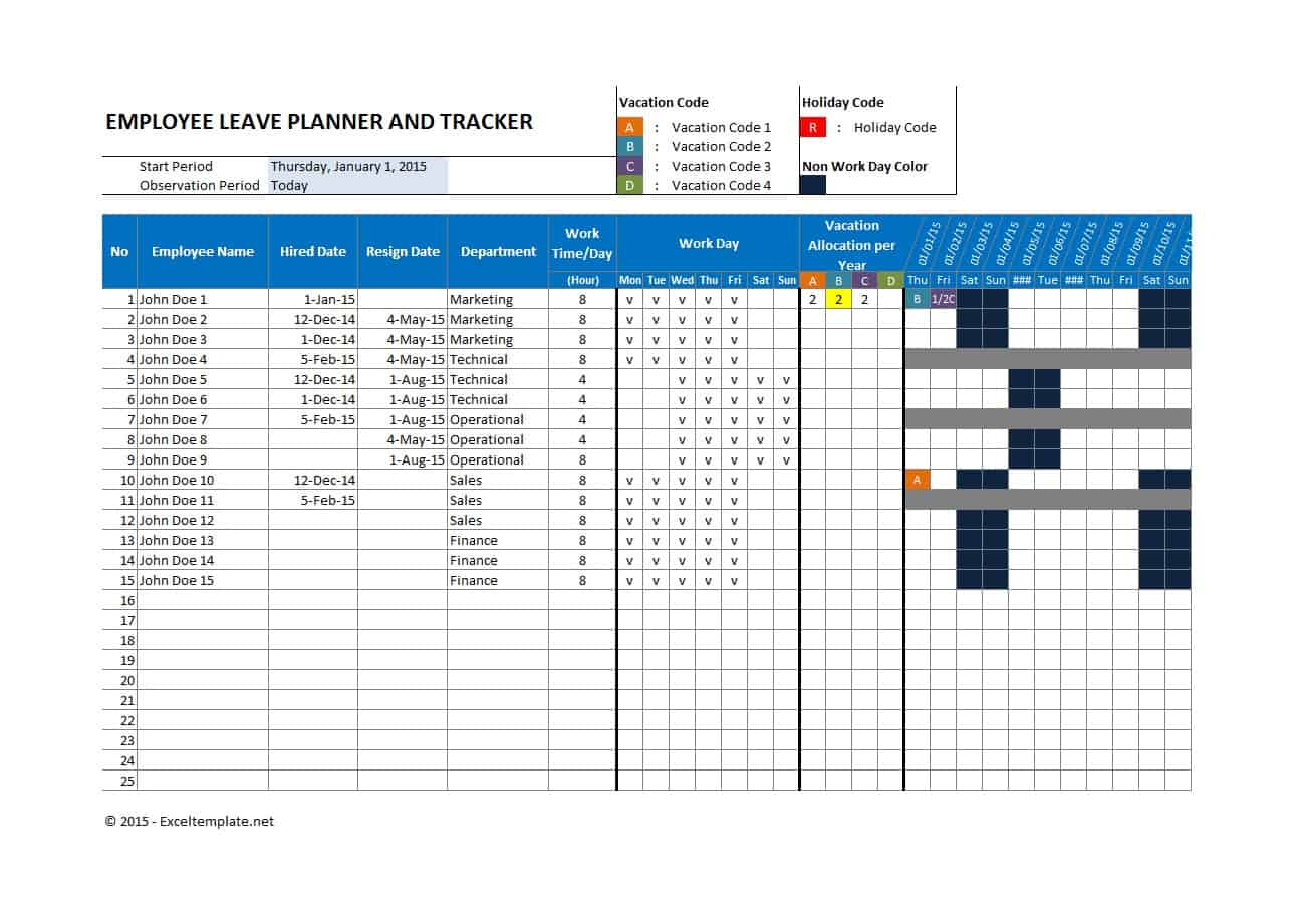 49 Employee Vacation Trackers (Excel & Word) ᐅ Template Lab regarding Employee Vacation Tracking Calendar