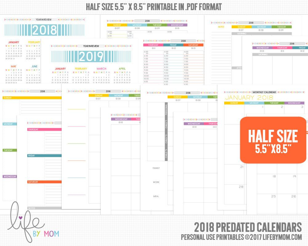 5.5 X 8.5Printable Pdf 2018 Planner Calendars | Arc Notebook in Printable Calendar 5.5 X 8.5