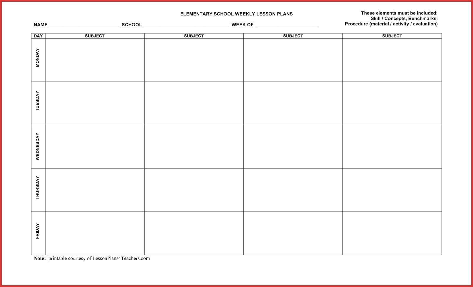5 Day Weekly Calendar Template | Example Calendar Printable pertaining to Printable 5 Day Calendar