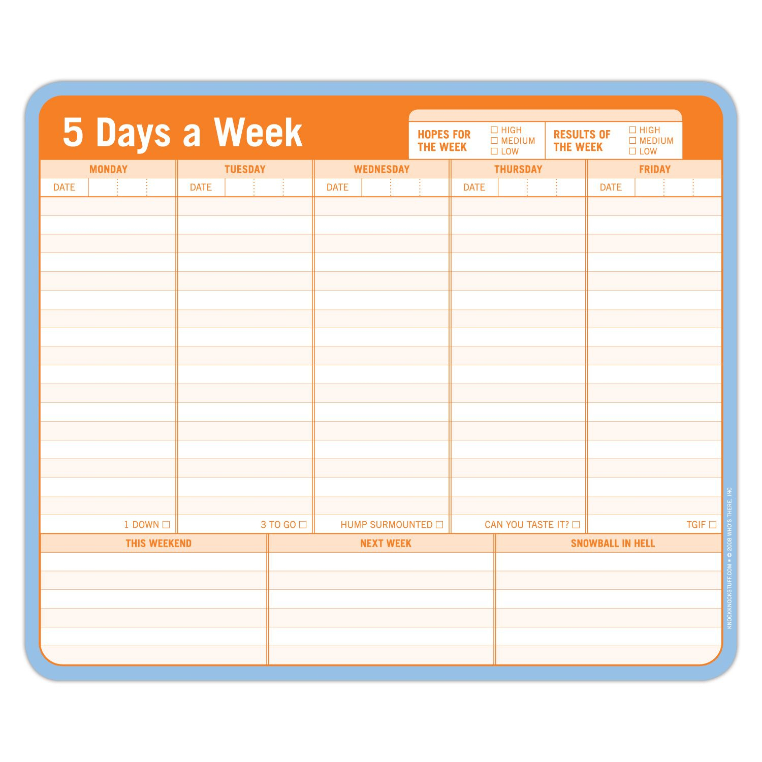 5 Days A Week Paper Mousepad | Knock Knock, Cool Desk regarding 5 Days A Week Planner