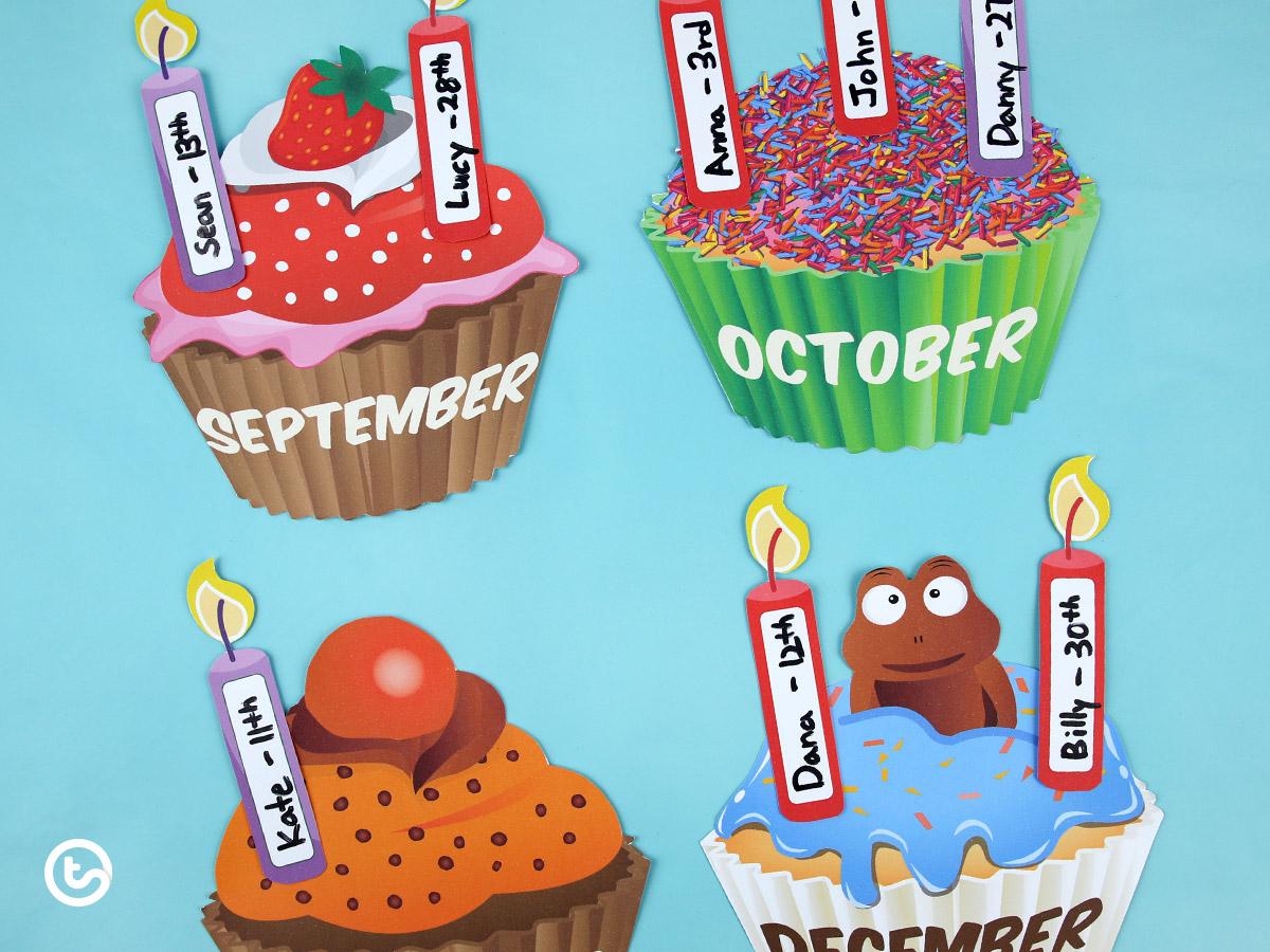 5 Fun And Unique Birthday Bulletin Board Ideas | Printable inside Free Printable Cupcake Birthday Chart