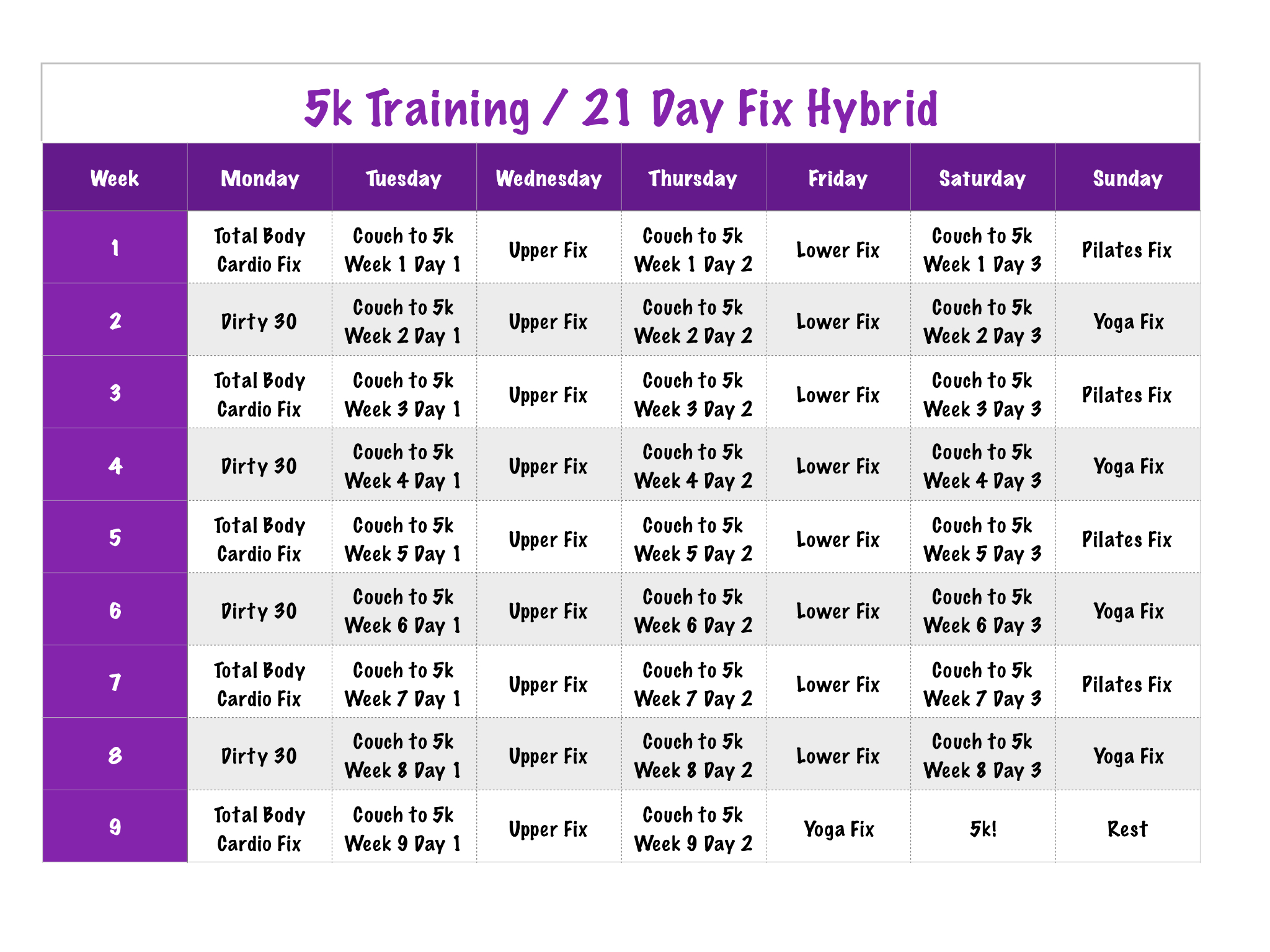 5K  21 Day Fix Hybrid | 21 Day Fix Schedule, 21 Day Fix pertaining to 21 Day Fix Hybrid Calendar