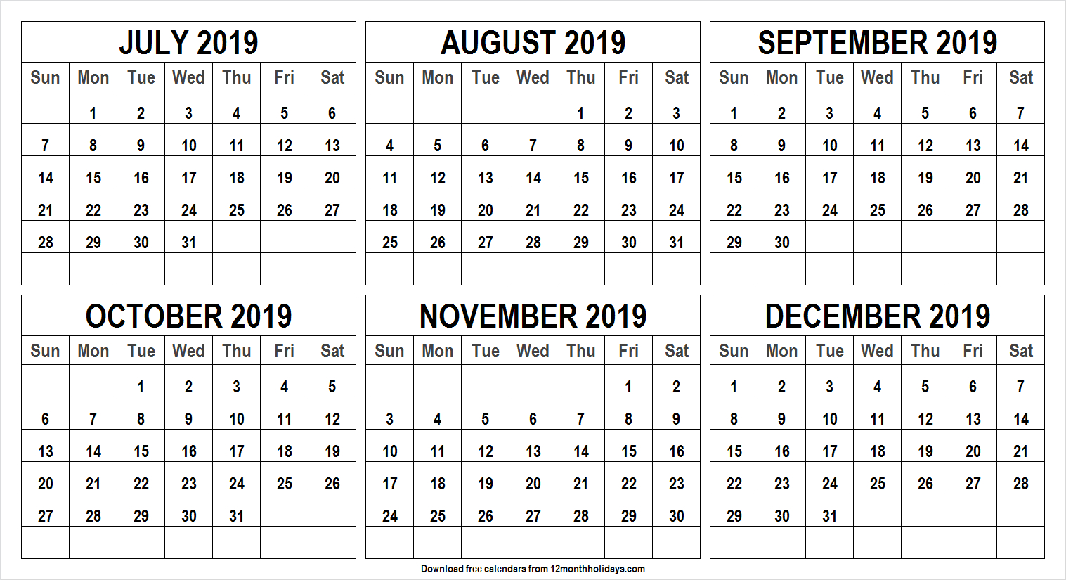 6 Month Calendar July To December 2019 Template | Monthly in Printable 6 Month Calendar