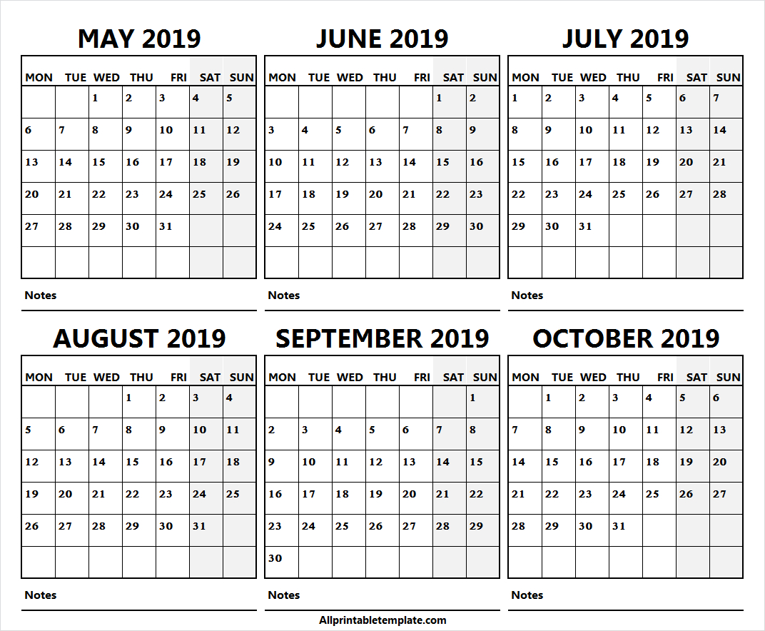 6 Month Calendar May October 2019 Free | Calendar 2019 With throughout Printable 6 Month Calendar