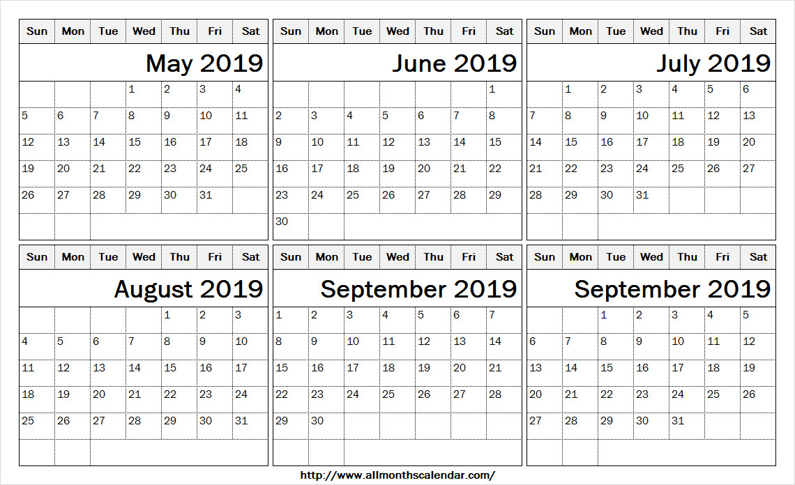 6 Month Calendar May To October 2019 Template | 2019 for Blank 6 Month Calendar
