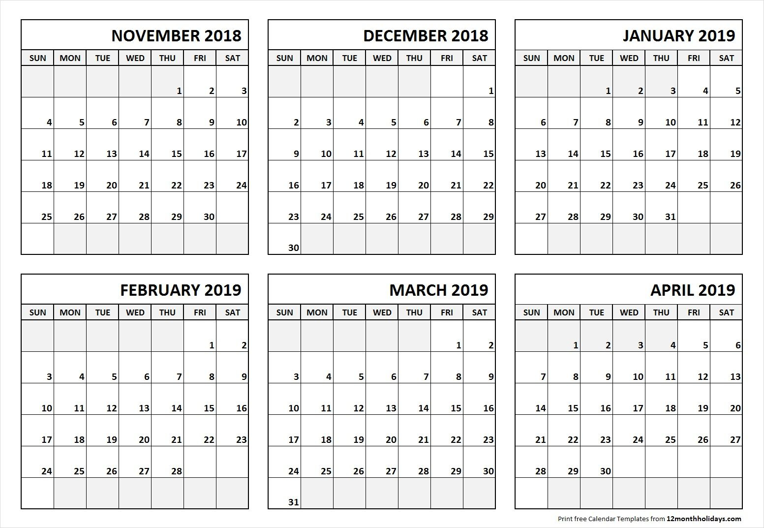 6 Month Calendar November 2018 To April 2019 | June 2019 in Blank 6 Month Calendar