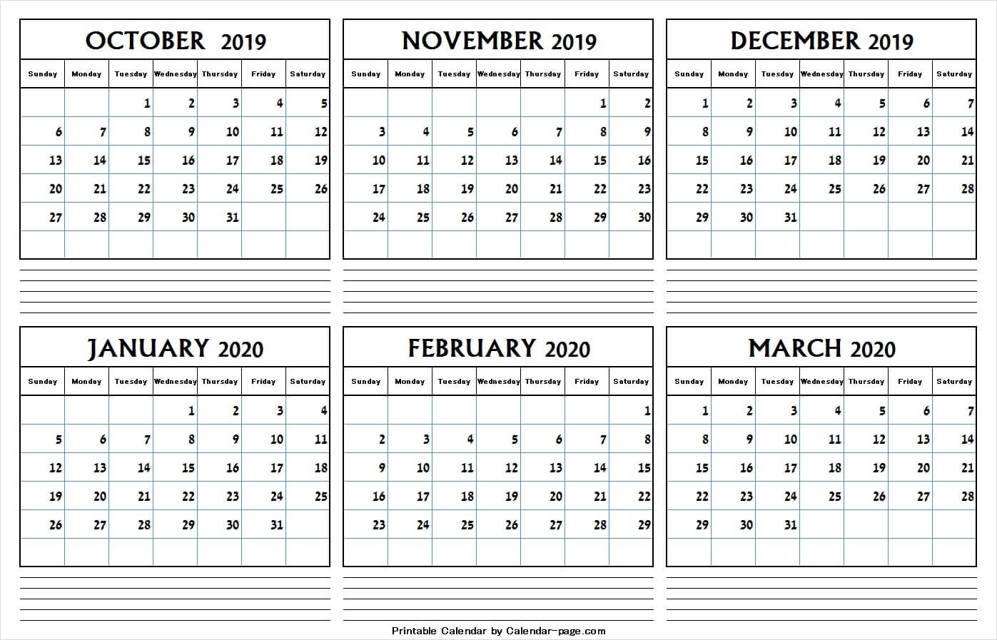 6 Month Calendar October 2019 And March 2020 | Editable Png intended for Six Month Calendar Template