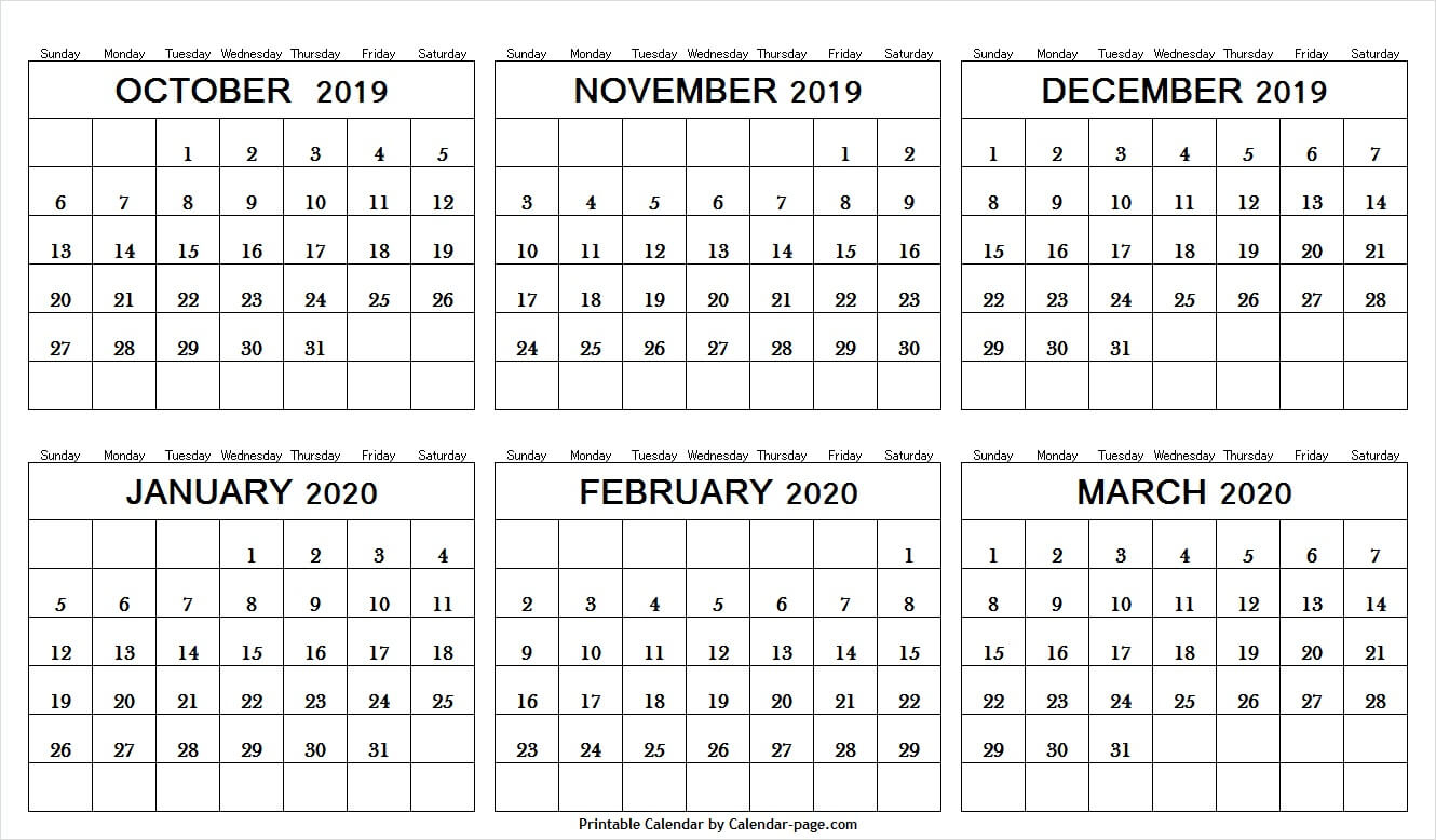 6 Month Calendar October 2019 And March 2020 | Editable Png regarding 6 Month Calendar Template
