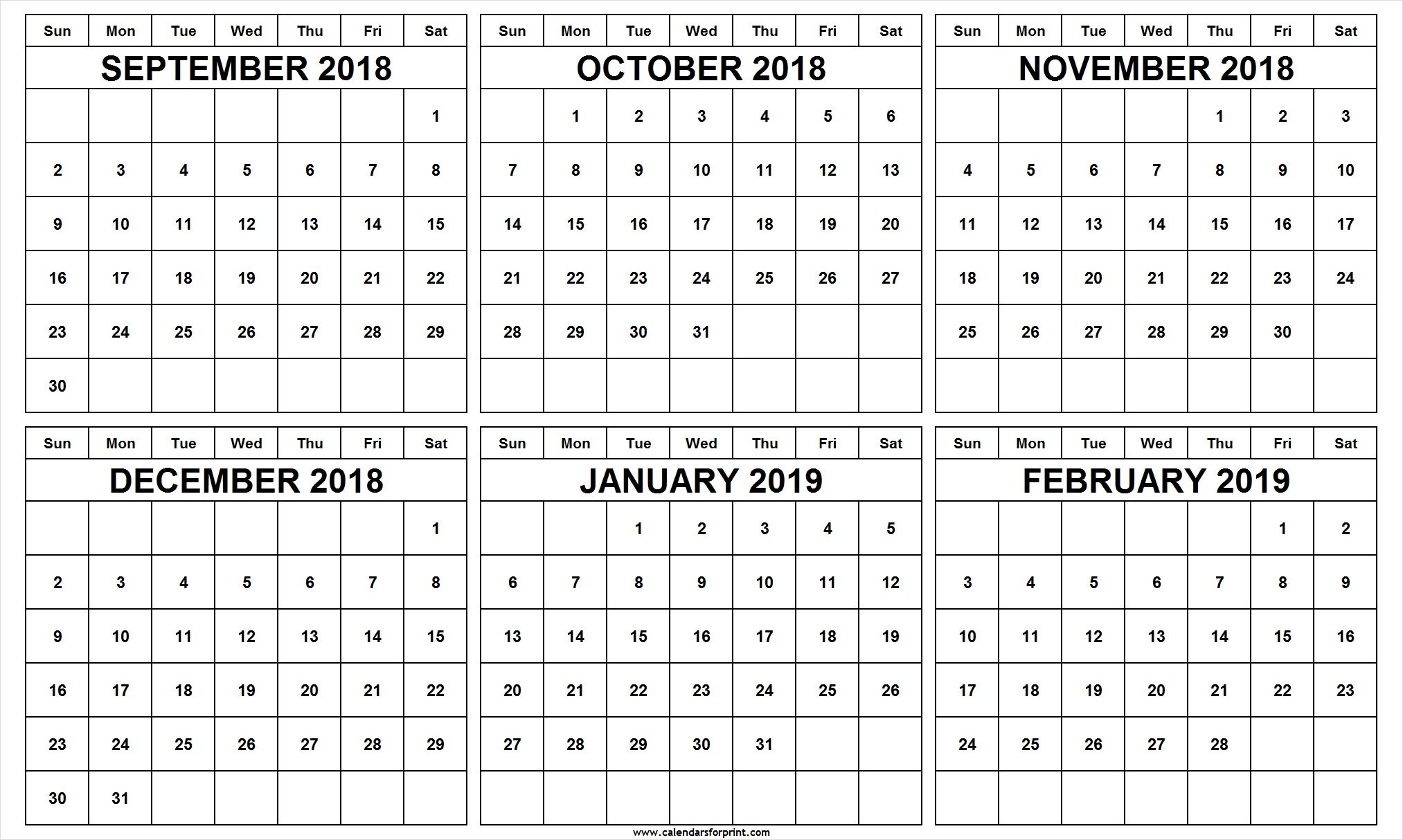 6 Month Calendar September October November December 2018 inside Free Printable 6 Month Calendar
