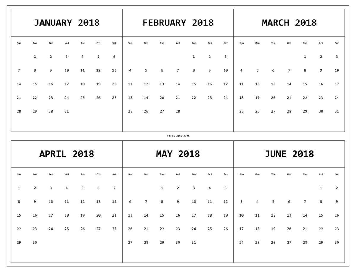 6 Month E Page Calendar 2018 Print Monthly Calendar regarding Free Printable 6 Month Calendar