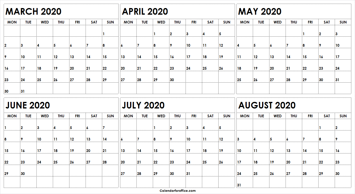 6 Month March To August 2020 Calendar Printable | 2020 Template pertaining to Printable 6 Month Calendar