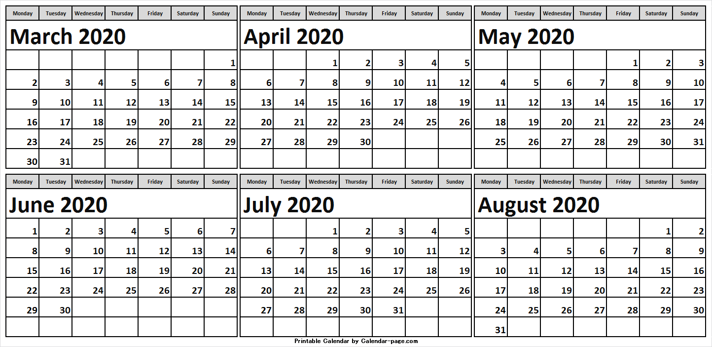 6 Month March To August 2020 Calendar Template | March 2020 for May June July August 2020 Calendar