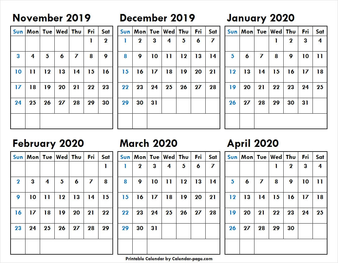 6 Month November 2019 To April 2020 Calendar Template with regard to 6 Month Calendar Template