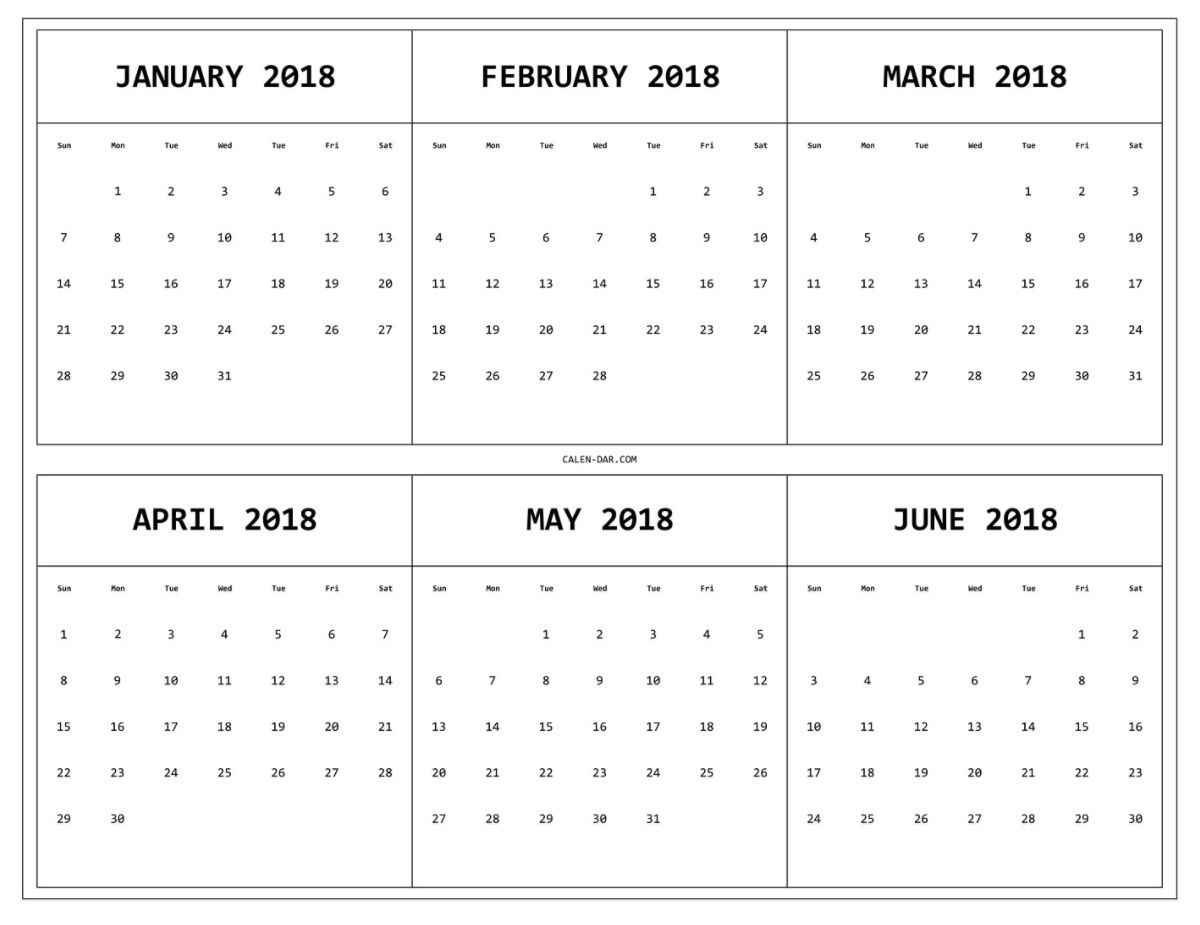 6 Month One Page Printable Calendar 2018 | Printable pertaining to Blank 6 Month Calendar