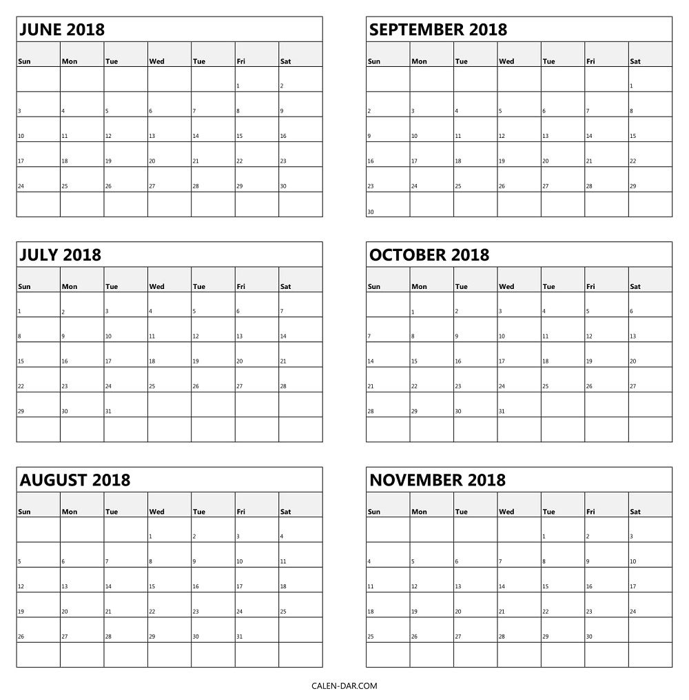 6 Monthly Calendar 2018 June To November Template | Calendar within 6 Month Calendar Template