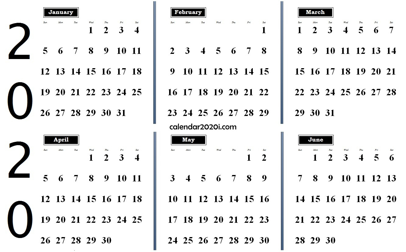 6 Months 2020 Half Year Printable Calendar | Calendar 2020 in 6 Month Calendar Printable