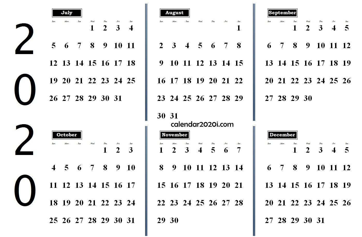 6 Months 2020 Half Year Printable Calendar | Calendar 2020 intended for Printable 6 Month Calendar