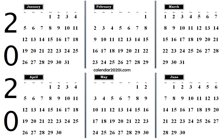 6 Months 2020 Half Year Printable Calendar | Calendar 2020 with Six Month Calendar Template