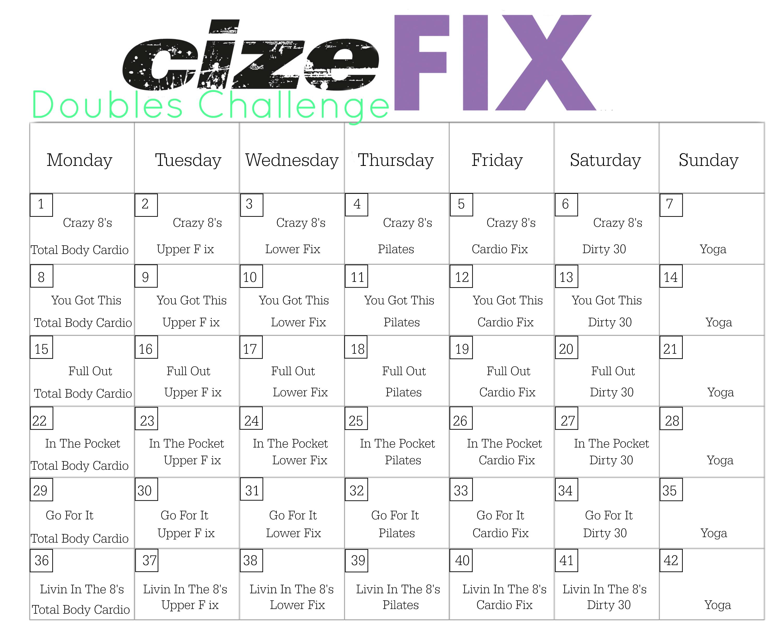 6 Week Cizefix Challenge! throughout 21 Day Fix Hybrid Calendar