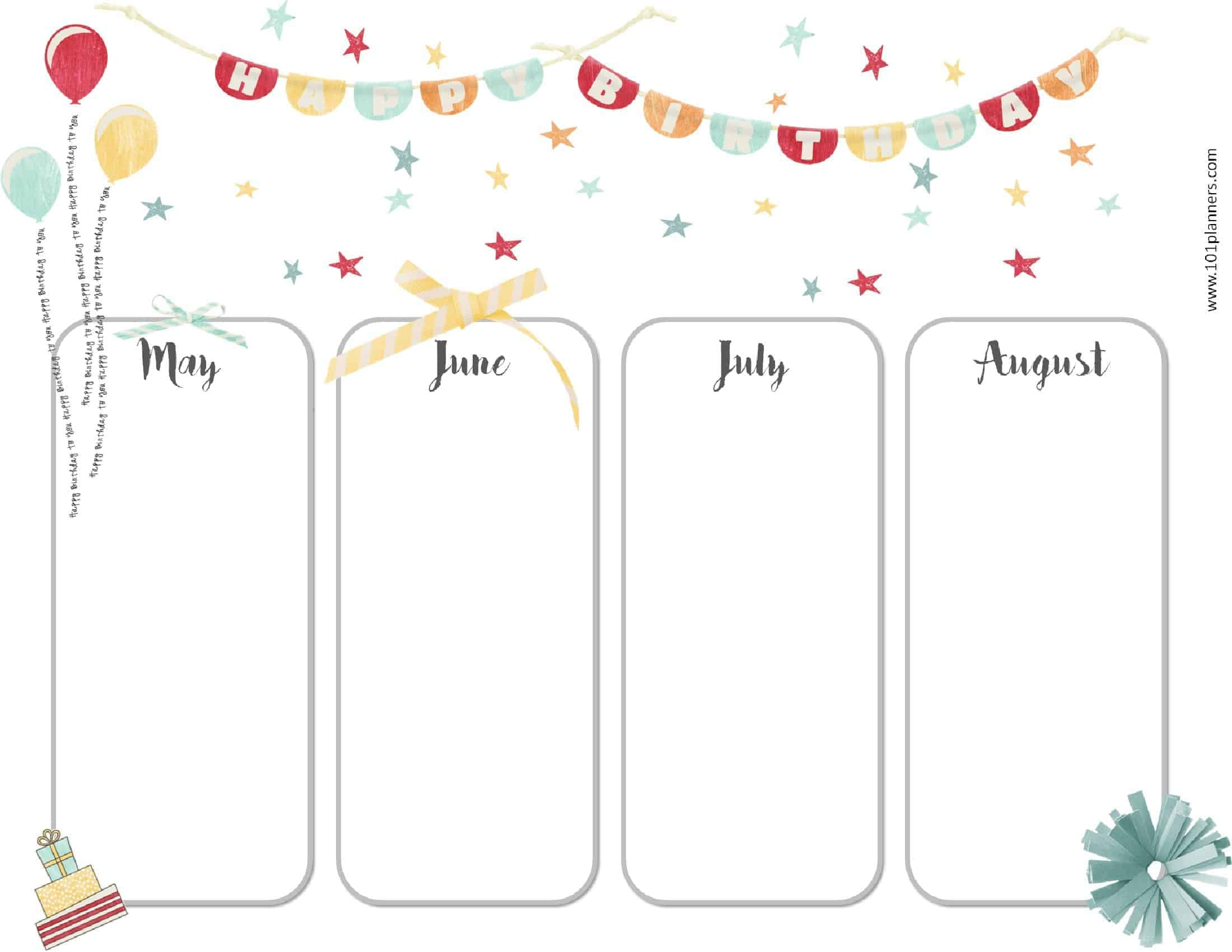 6E88 Birthday Chart Template | Wiring Library intended for Free Printable Birthday Chart
