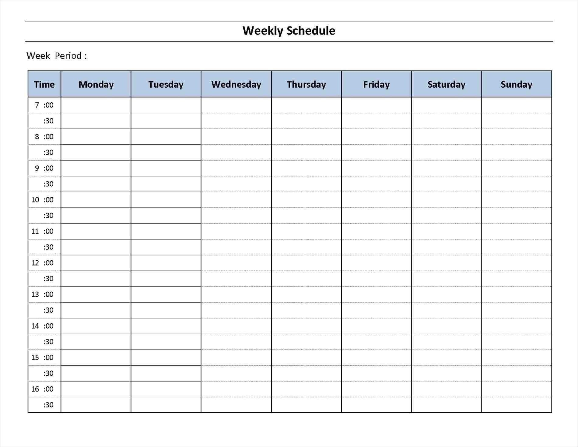 7 Day Week Calendar Printable | Template Calendar Printable for 7 Day Weekly Calendar Template