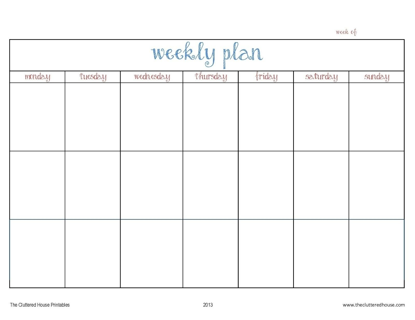7 Day Weekly Planner Template Printable – Template Calendar intended for 7 Day Weekly Calendar Template