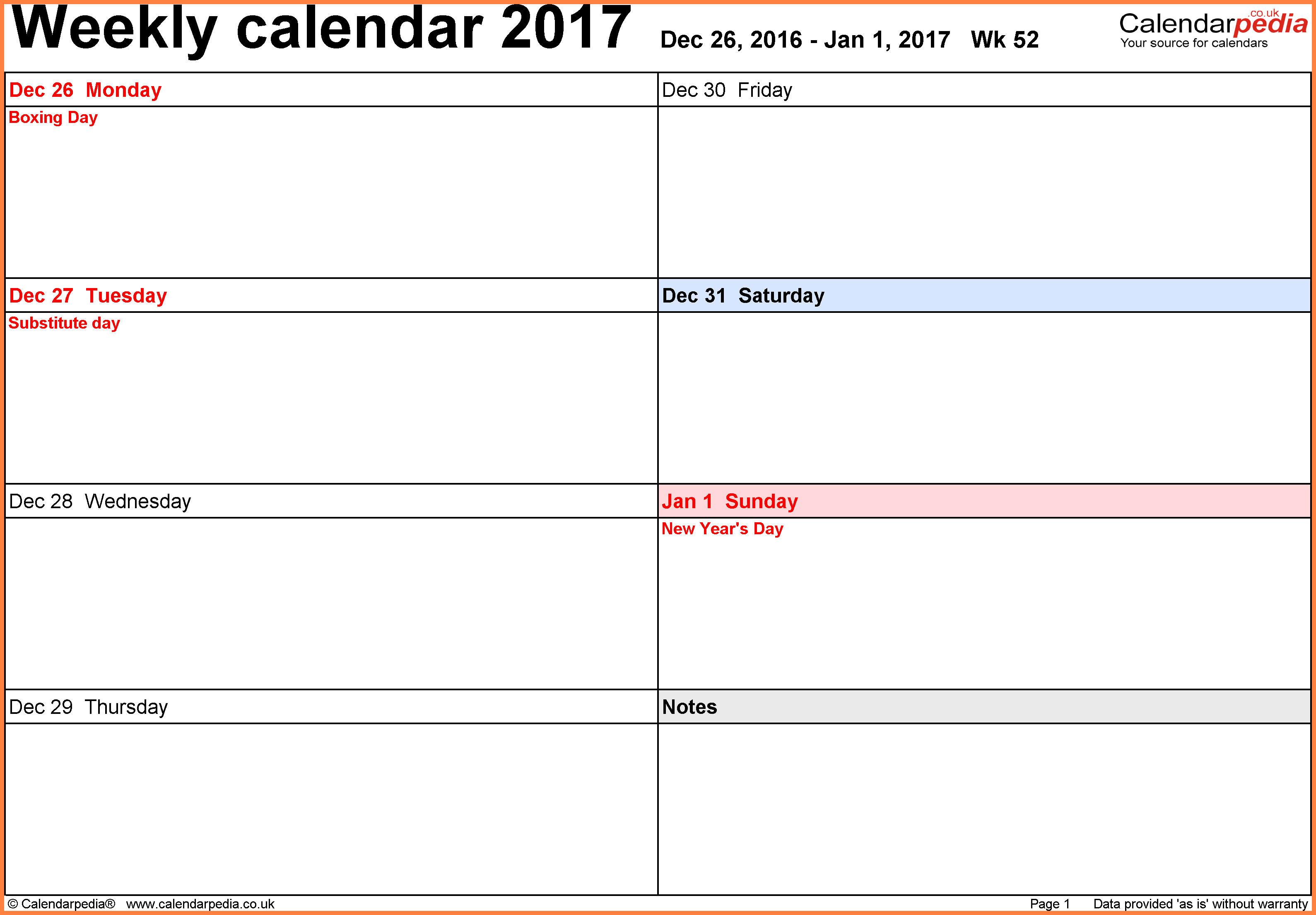 7+ Free Online Weekly Calendars To Print | Andrew Gunsberg intended for Free Online Weekly Calendar