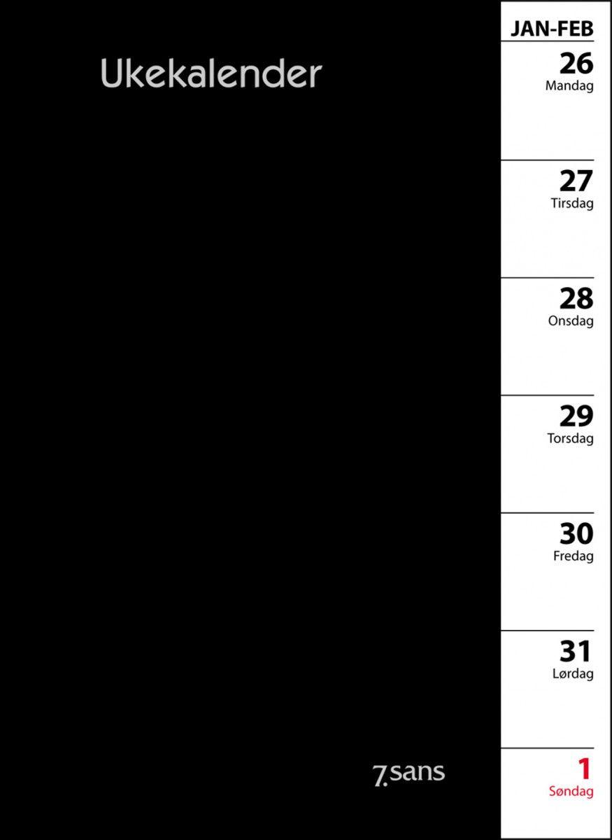 7. Sans Ukekalender Refill I Omslag Sort 2020 throughout Norsk Ukekalender 2020