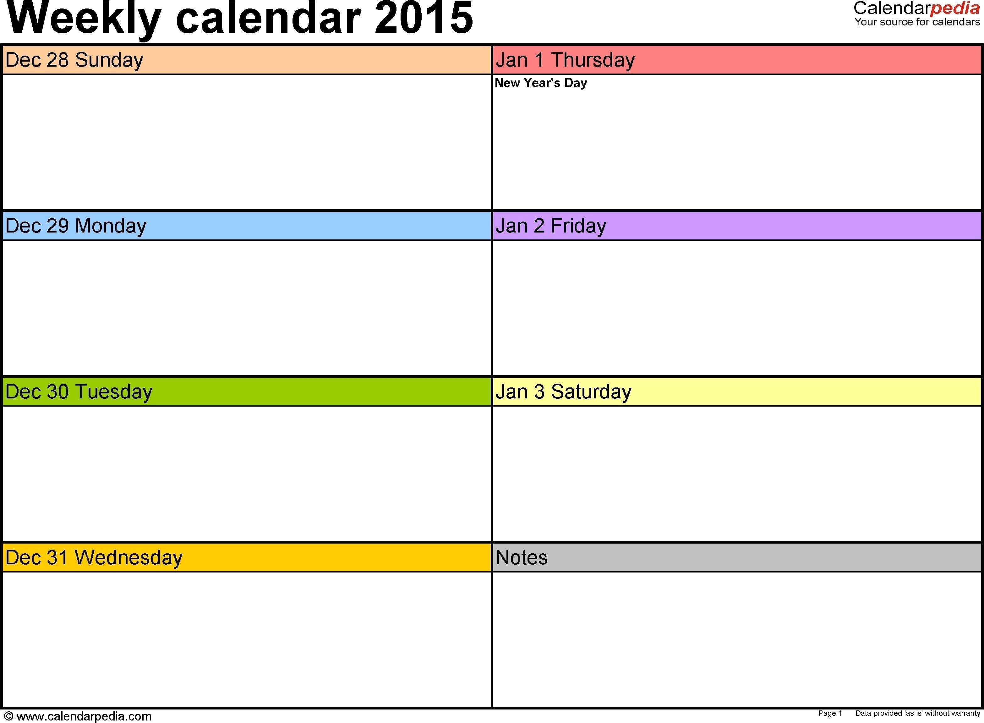 7Day Week Blank Calendar Template | Blank Calendar Template throughout 7 Day Blank Calendar