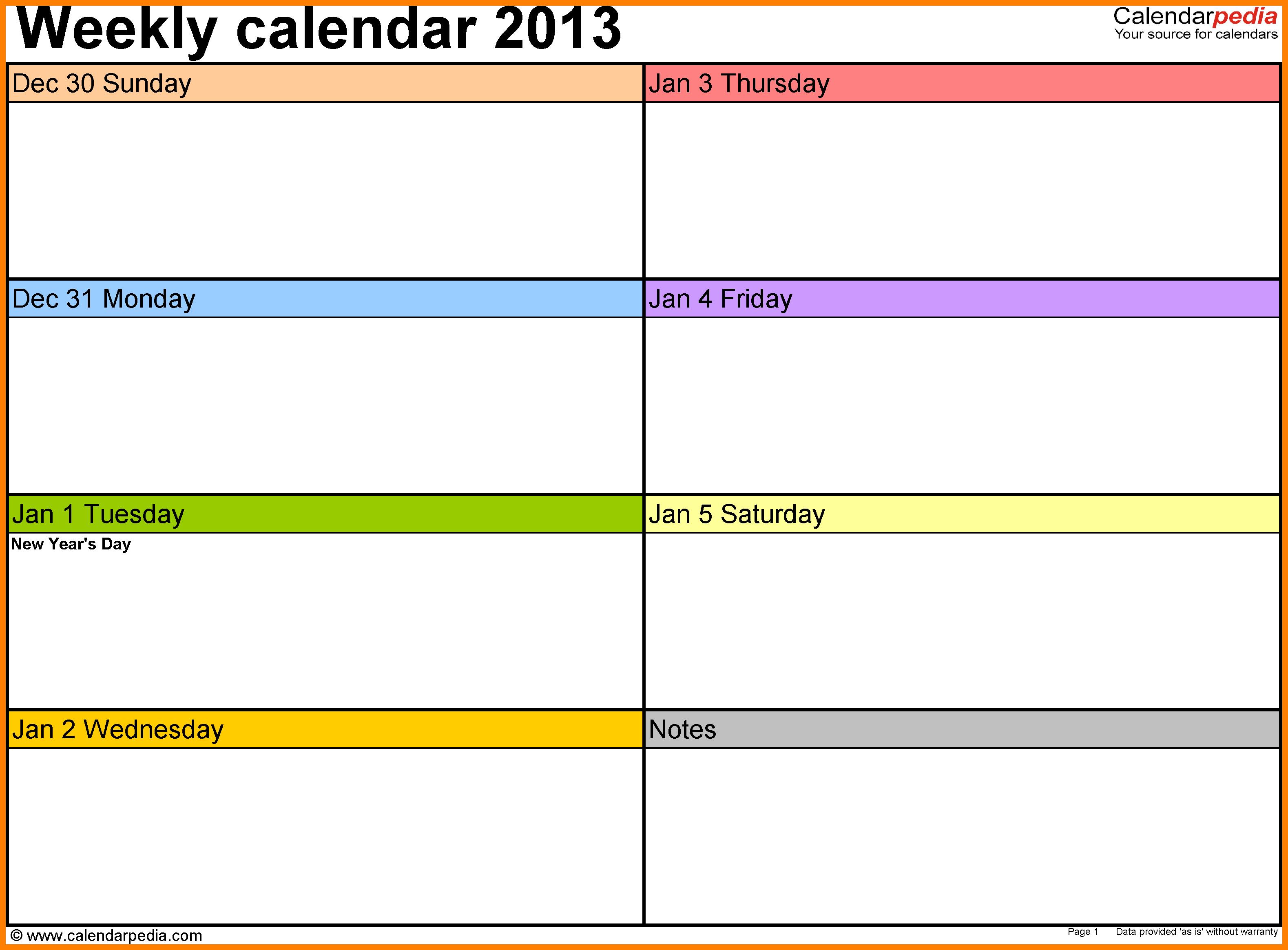 8+ Free Weekly Printable Calendar Templates | Marlows Jewellers pertaining to Blank Weekly Calender