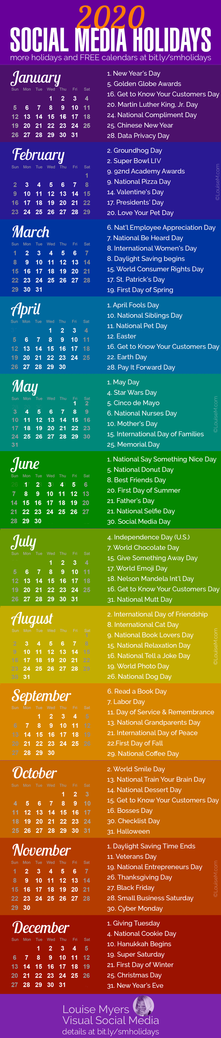 84 Social Media Holidays You Need In 2020: Indispensable! with National Days June 2020