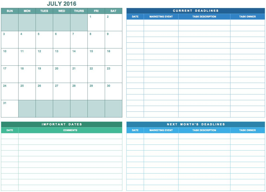 9 Free Marketing Calendar Templates For Excel  Smartsheet inside Smartsheet Marketing Calendar