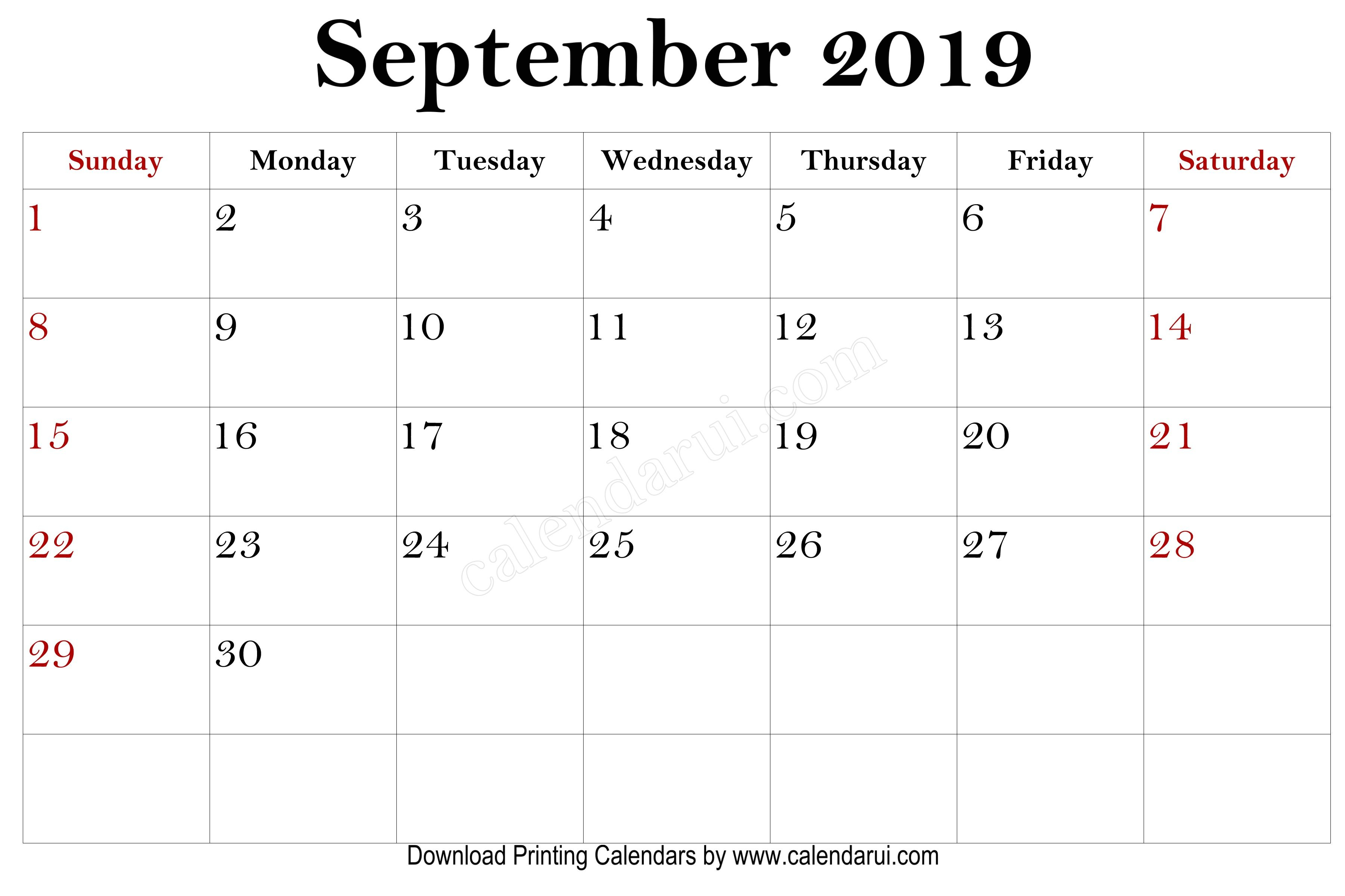 9 September Free Printable Mini 2019 Calendars | 2019 in Mini Calendar Template